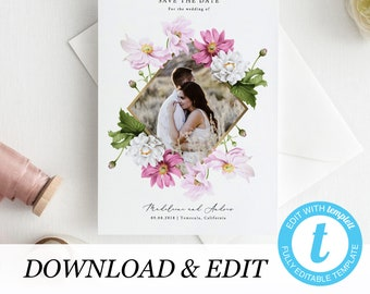 Photo Save the Date Printable Invitation Template, Templett, floral invitation elegant printable wedding invite Wedding DIY instant download