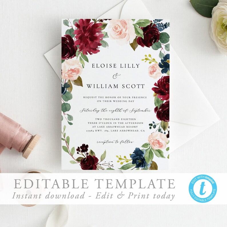 Wedding Invitation Editable Template Burgundy Wedding Invite Etsy