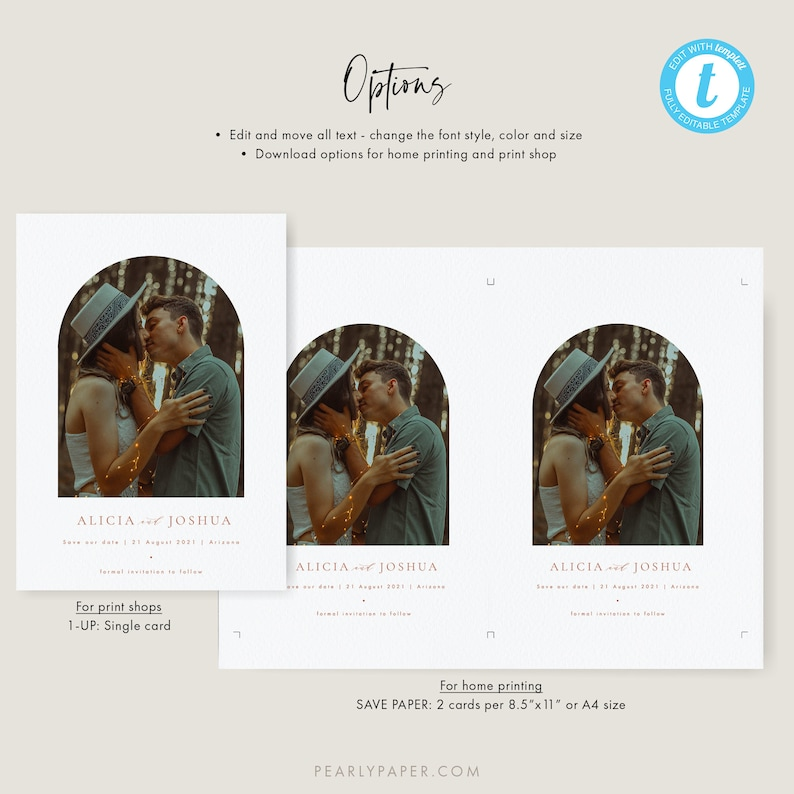 Printable Photo Save the Date Template Arched Save the Date Templett Burnt Orange Save our date invitation Editable #39