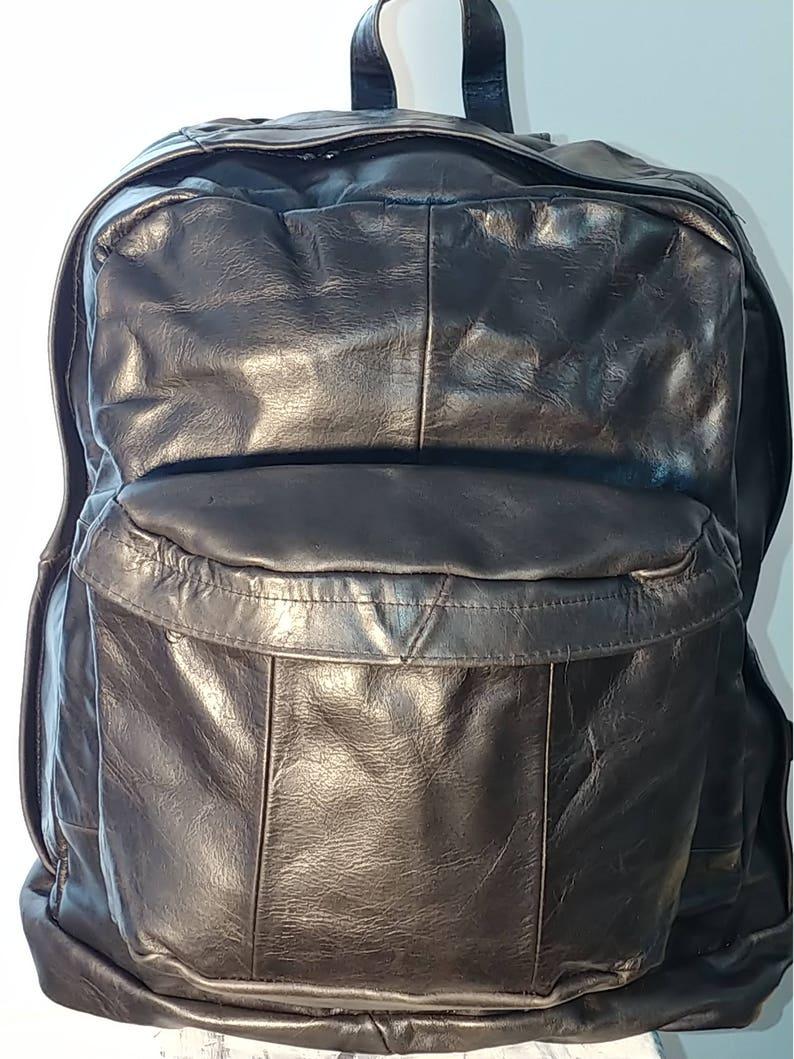 Black Brown Book Bag Backpack Leather Unisex