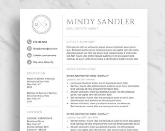 modern resume template for word minimalist resume design 2 etsy
