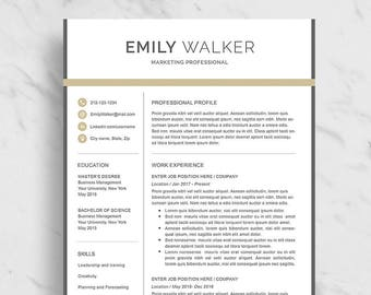 professional resume template for word modern resume design 2 page resume download marketing - Marketing Resume Template
