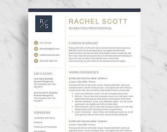 modern resume template for word minimalist resume design 2 etsy