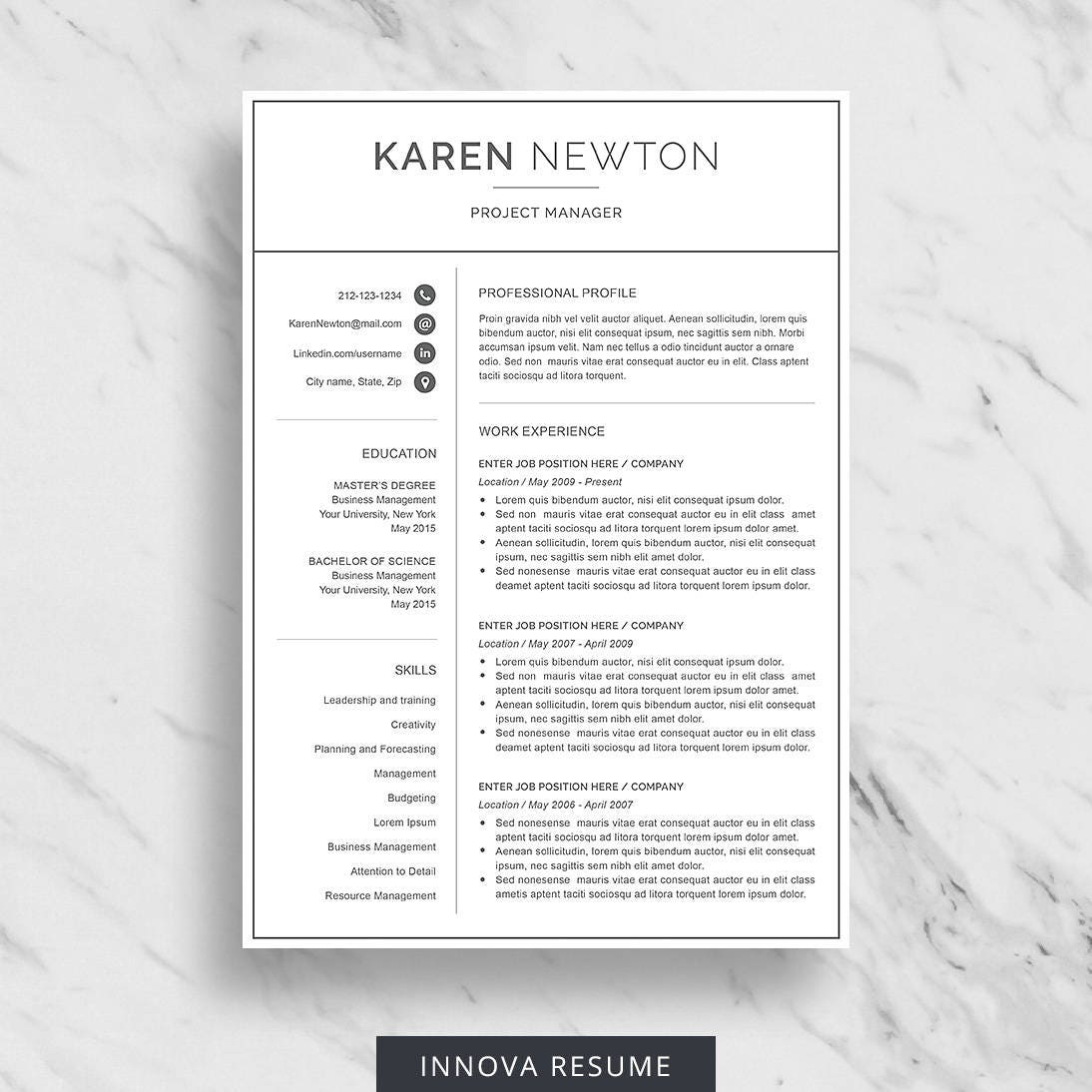 modern resume template for word minimalist resume design 2