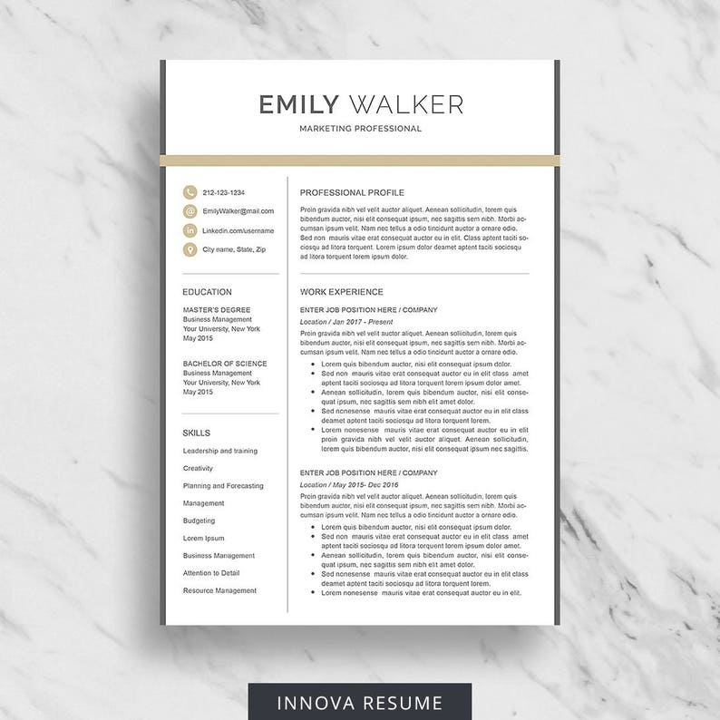 2 Page Resume Download Marketing Resume Template Professional CV Template Modern Resume Design Professional Resume Template for Word