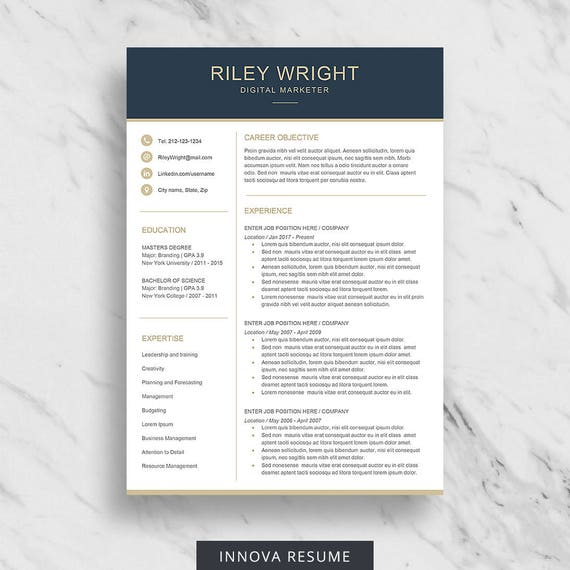 Modern Resume Template For Word Clean Resume Design Two Etsy