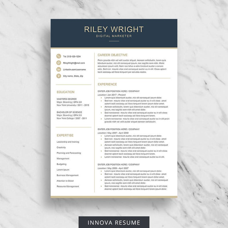 Modern Resume Template For Word Clean Design Two