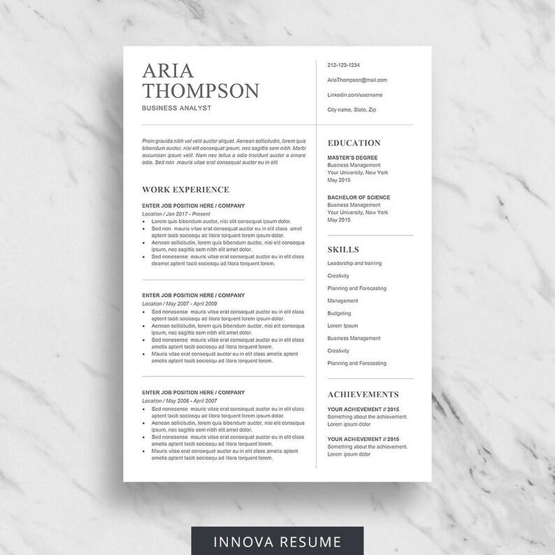 Minimalist Resume Template For Word Professional Resume