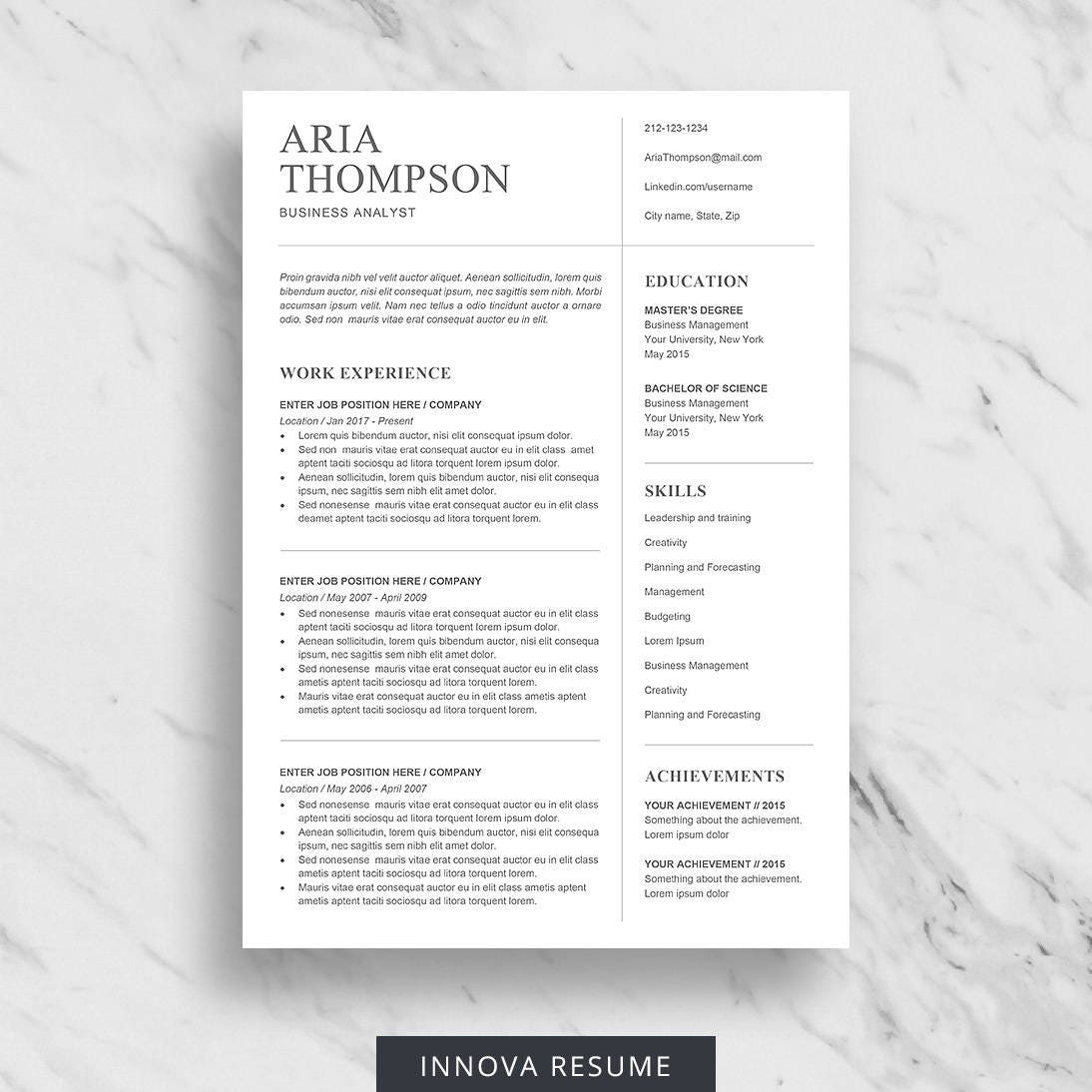 minimalist resume template for word professional resume