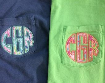 Monogrammed Lilly Pulitzer Applique Pocket Tee, Comfort Colors TShirt, Comfort Colors Pocket Tee, Monogram Shirt, Bridesmaid Gift