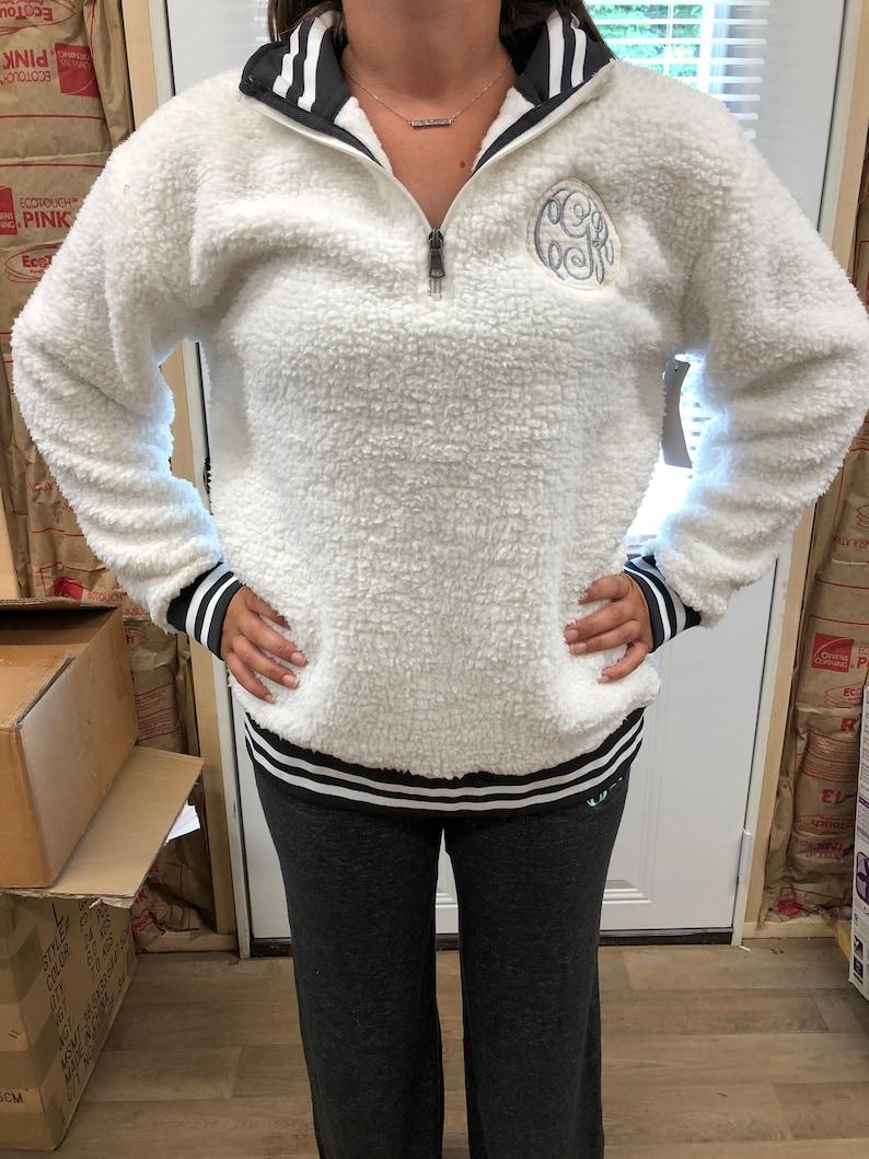 Personalized Sherpa Varsity Sherpa Quarter Zip Pullover Cozy Sherpa Pullover Monogram Sherpa Pullover Fuzzy Pullover