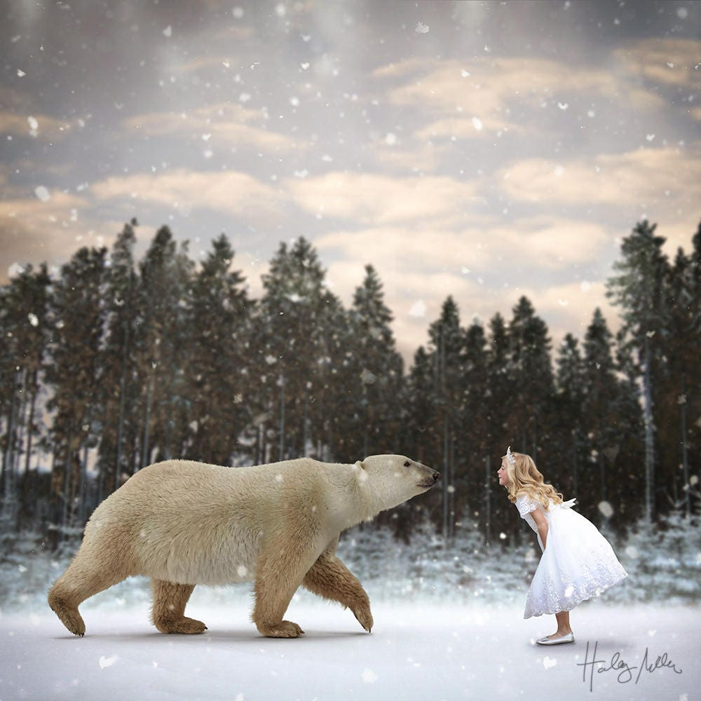 polar bear in falling snow winter scene digital etsy. Black Bedroom Furniture Sets. Home Design Ideas