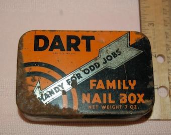 Dart Family Nail Tin Box, Handy for Odd Jobs, Kress Stores