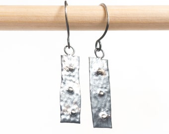 Handmade Rustic Dangle Earrings | Brutalist Drop Earrings | Silver Earrings | Oxidized .999\.925 Silver