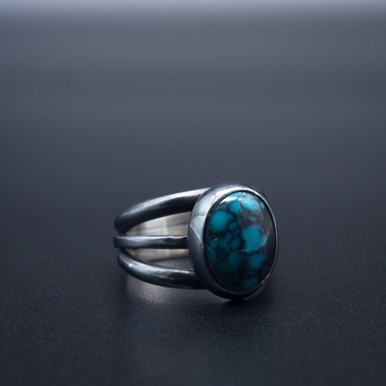3662483cc3348 Natural Spiderweb Turquoise ring in oxidized .925 silver | Size 5.5 |  Handmade in Oregon, USA