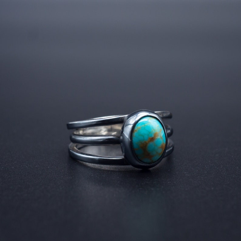 f9f5c70275940 3 band Minimalist Natural Turquoise ring in .925 Silver | Size 7.5 |  Handmade in Oregon, USA