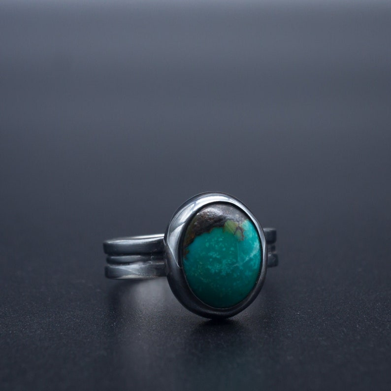 547ba0f7733af Minimalist Natural Turquoise Ring in .999\.925 Silver with natural patina |  Size 5 | Handmade in Oregon, USA