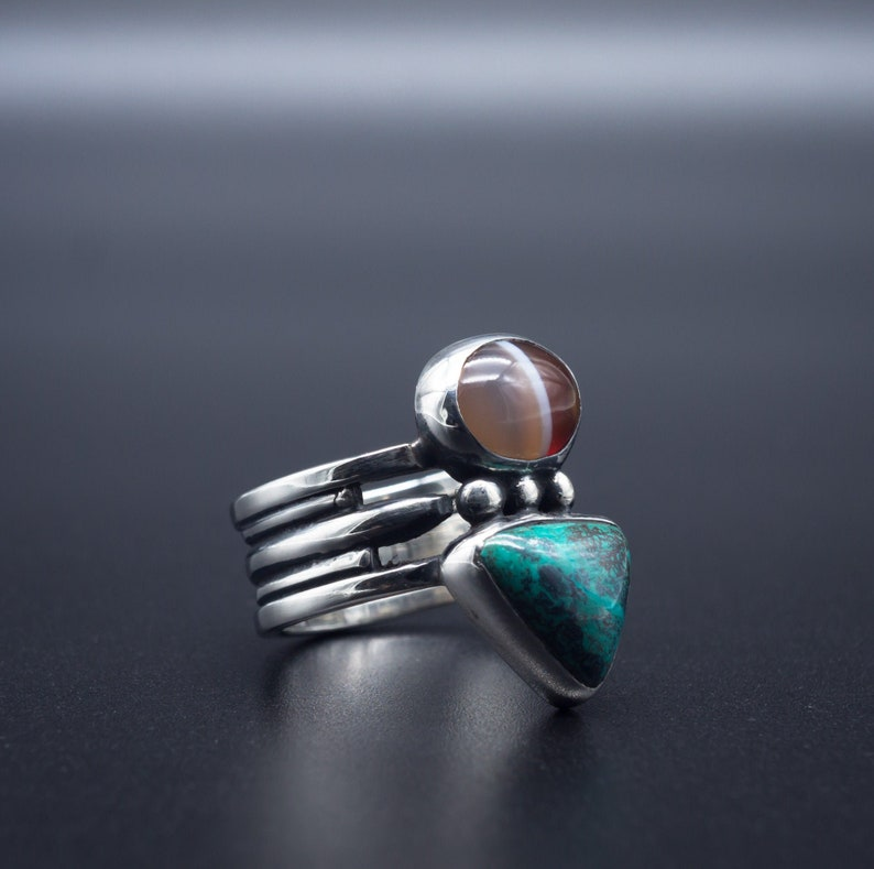 87b9470beab18 Shattuckite & Sardonyx ring in .925 Silver | Size 5.5 | Handmade in Oregon,  USA