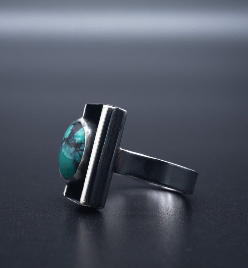 f89228cdfcad5 Black box Natural Turquoise Ring in .925 Silver | Size 7.5 | Handmade in  Oregon, USA