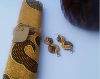 African Head Wrap with Earring- Ankara Head Wrap