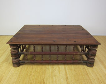 Antique Indian Mango Wood Rustic Coffee Low Table