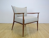 1960s Paul McCobb Walnut Upholstered Lounge Chair Restored