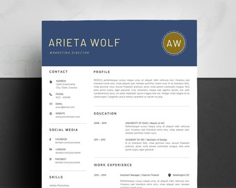 resume template instant download resumes cv template etsy