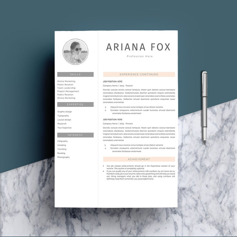 Resume Template 4 page, CV Template, Cover Letter for MS Word, Instant  Download, Clean Resume, Professonal Resume Template, Resume Teacher