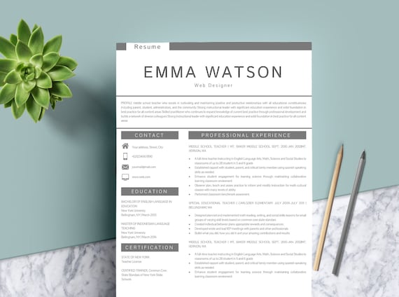 resume template instant download professional resume