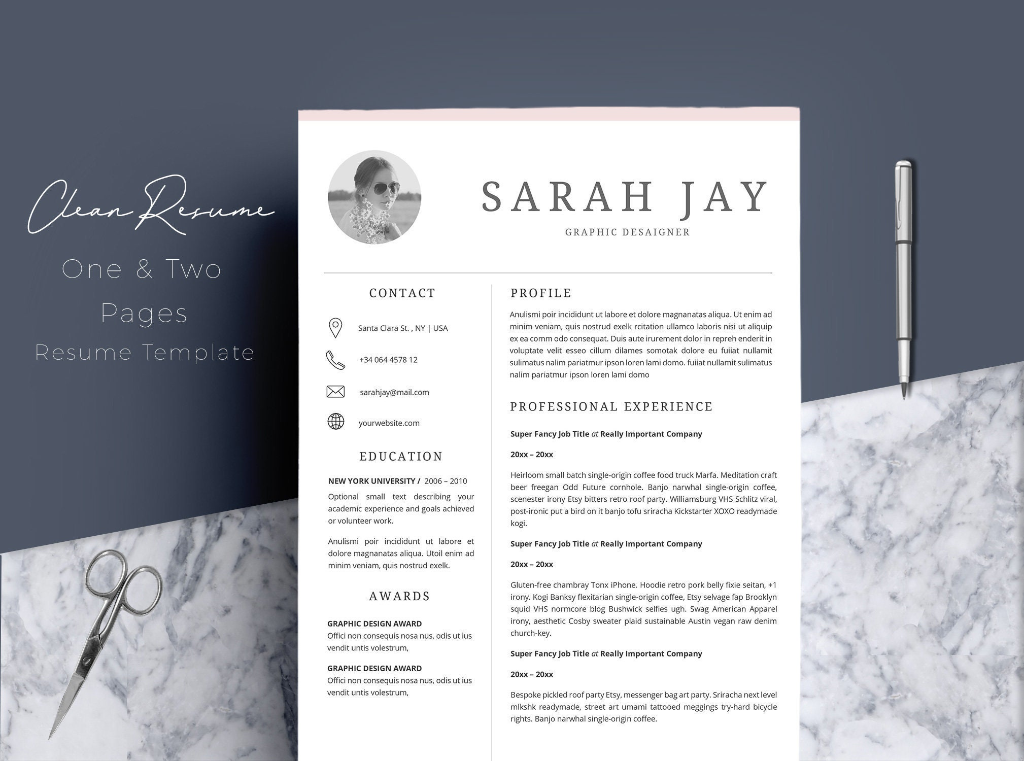 Resume Template 4 page CV Template Cover Letter for MS | Etsy