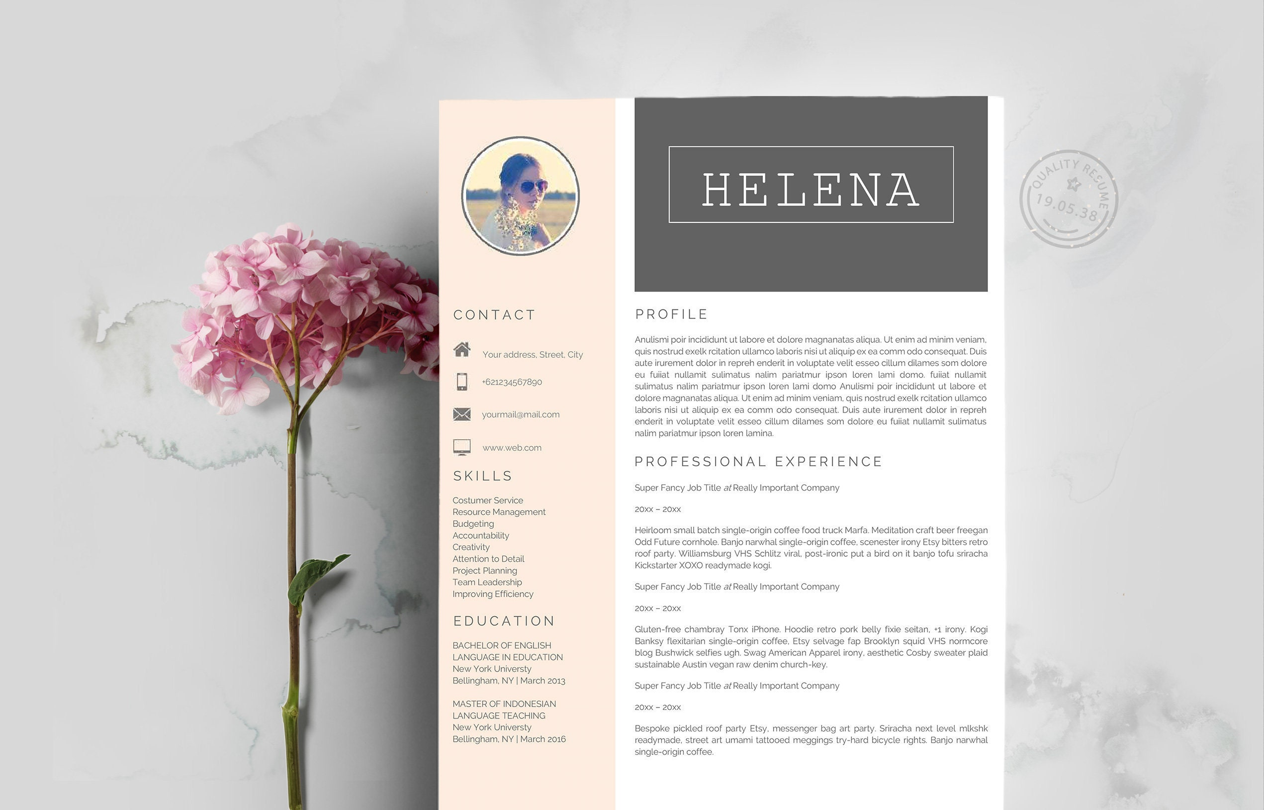 Resume Template Pages | Professional Resume Template + Cover Letter for  Word Professional Resume Design | Instant Download for MS Word