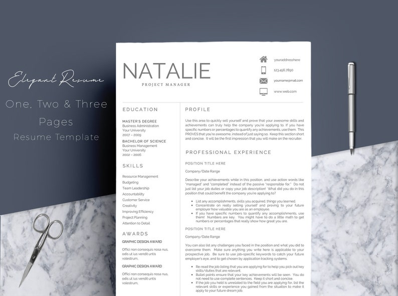 Creative Professional Resume Template for MS Word | 1 & 2 Page Resume,  Cover Letter, References Sheet and Cover Letter | Instant Download
