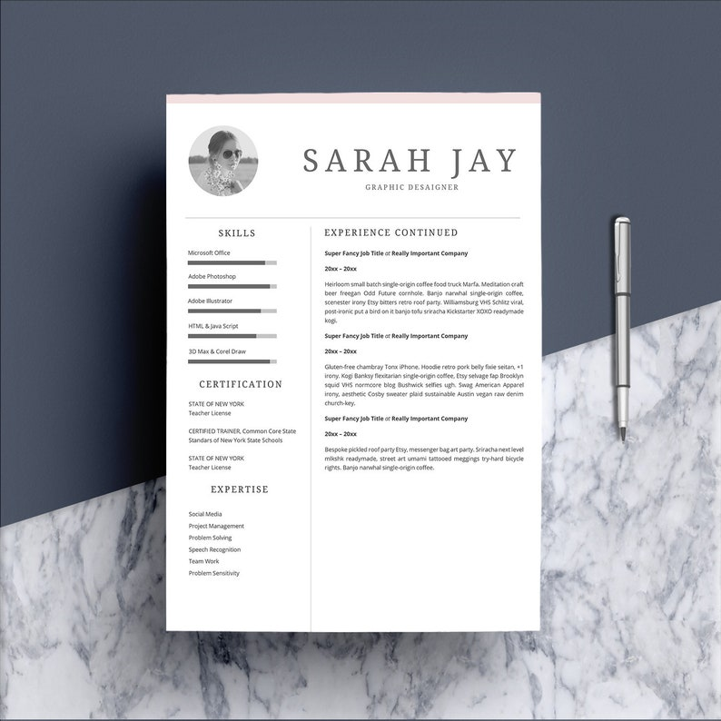 f4ea0cfe6ea Resume Template 4 page CV Template Cover Letter for MS
