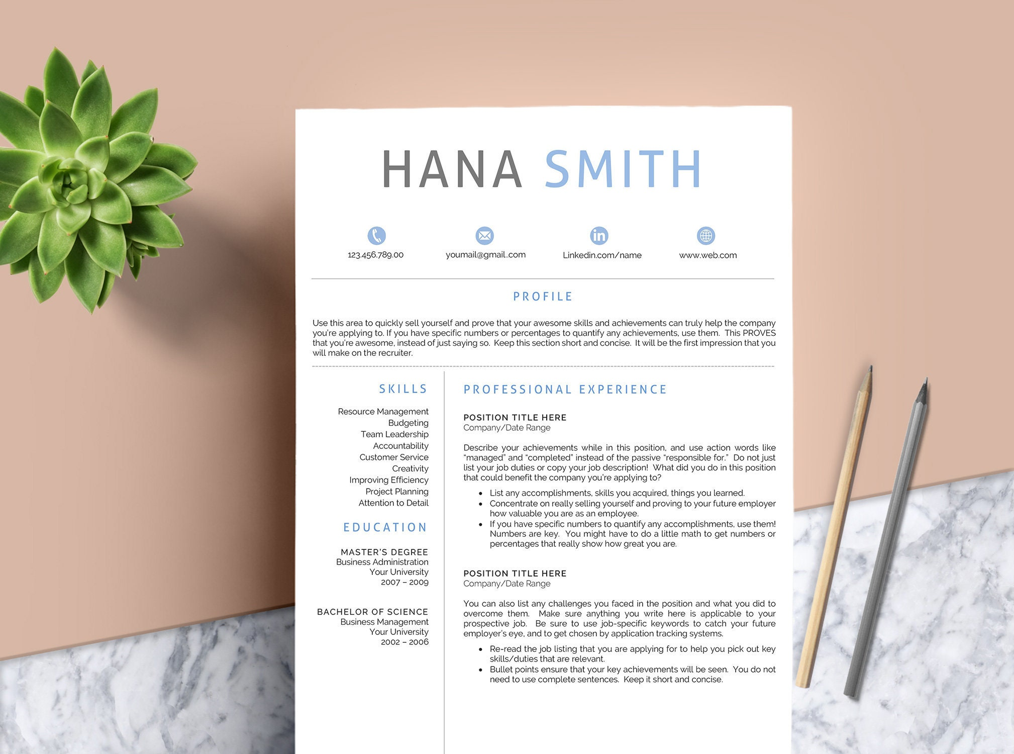 Creative Resume Template for Word & Pages | 1, 2 and 3 Page Resume Template  + Cover Letter + References + Icons | Modern Resume Template