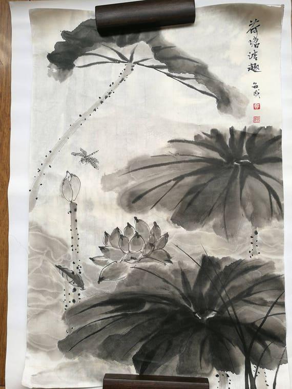 Original Chinesische Tuschmalerei Lotus Teich Große Innen Dekor Und Geschenk Botanische Kunst Malerei