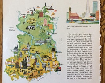 maps of germany vintage map pictorial map german map east germany west germany travel art map art divided germany cold war
