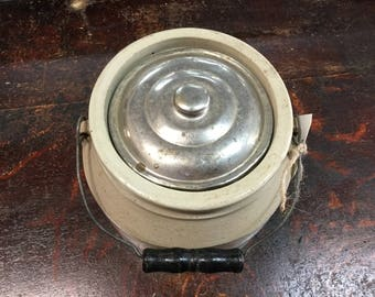 Vintage Ceramic Multipurpose Jar with Handle & Lid