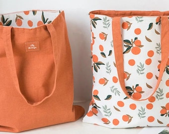 Patterned Casual Cute Double Sided Tote Shoulder Hand Bag, Shopping Bag, Grocery Bag