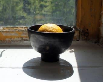 Black small bowl, stoneware, handmade, free-form, ceramic bowl, bowl, modern ceramics, candle holder, unique, cereal bowl