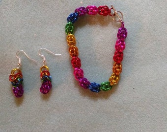 Rainbow chainmaille bracelet and earring set