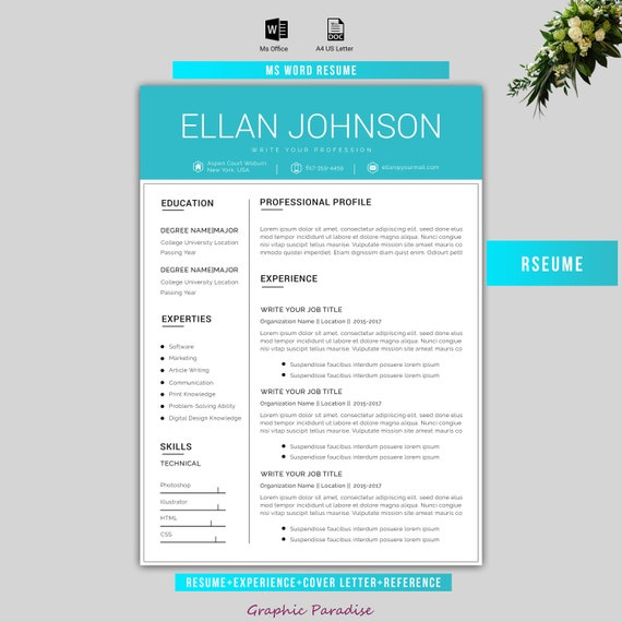 Canva Resume Template Resume Template Creative Resume Etsy