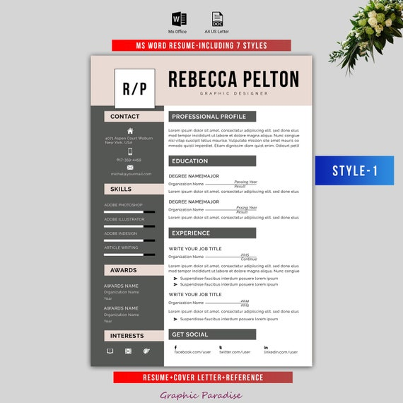 Professional Resume Template Modern Cv Template For Word Cover Letter Clean Modern Resume Template Mac Pc Instant Download