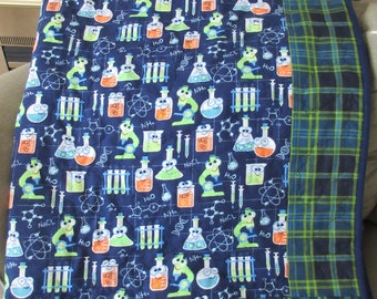 Flannel Science Quilt, Flannel Quilt, Father's Day quilt