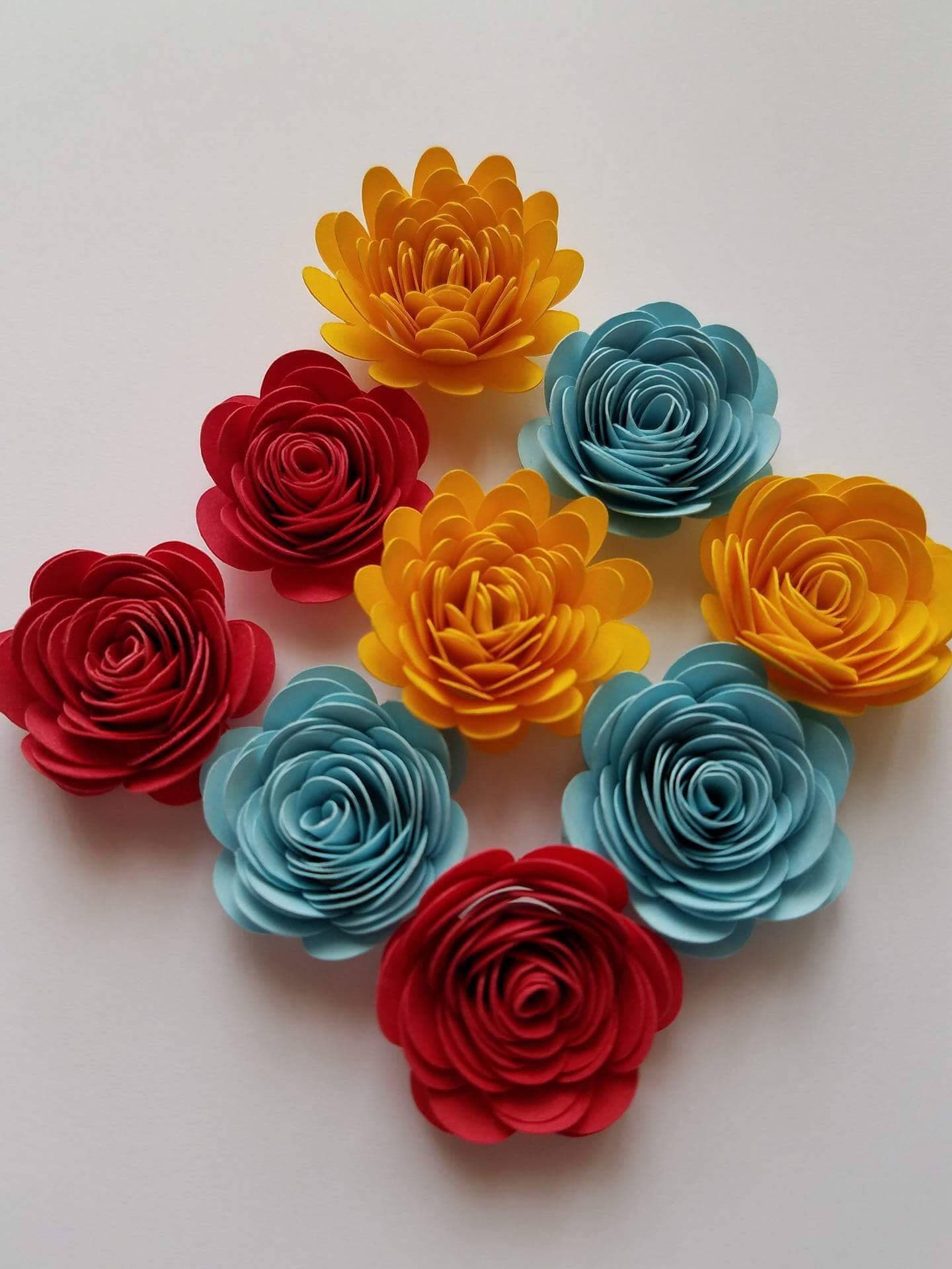 Set of 10 Small Paper Flower Tiny Paper Flower Shadowbox