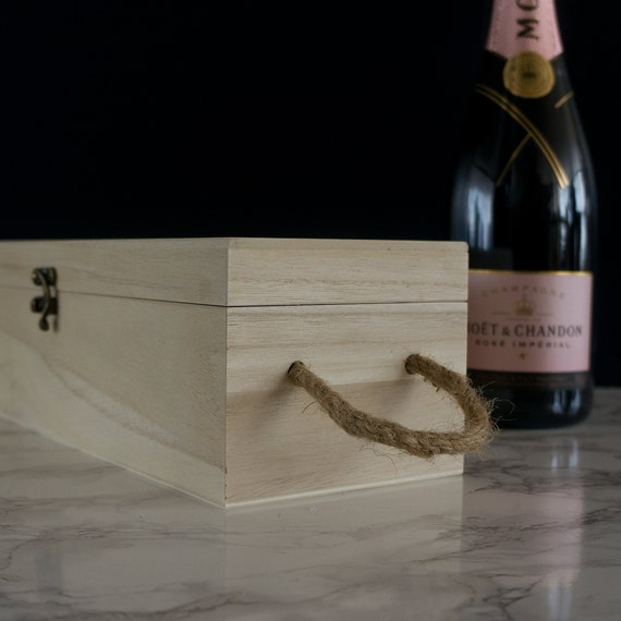 Custom engraved wooden champagne gift box L359 Personalised birthday wine box
