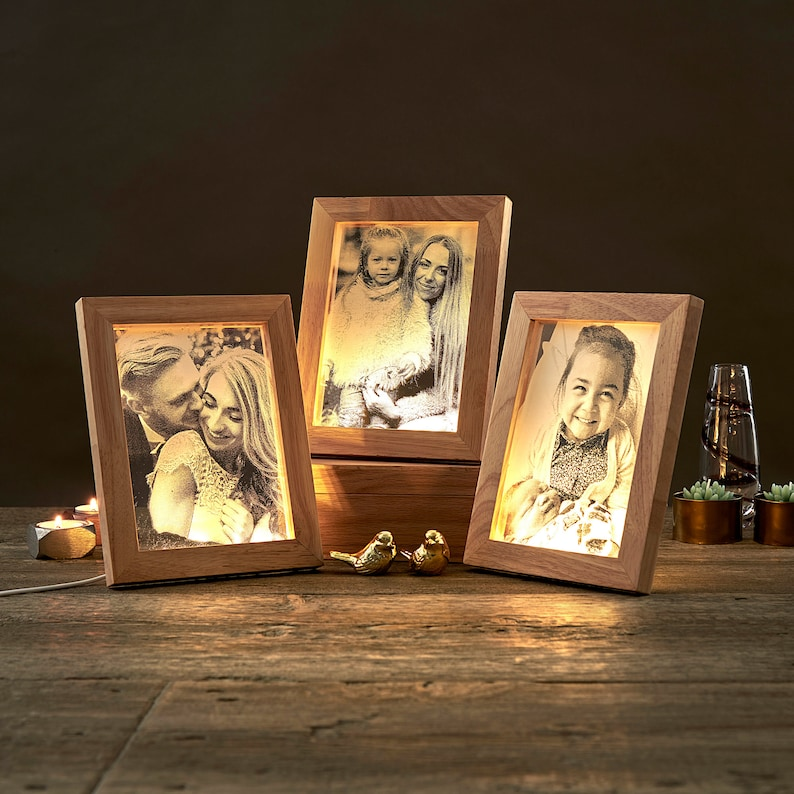 Personalize Led Photo Frame Laser Engraved Photographic Acrylic Slide Unique Photo Picture Frame Gift Memorial Gift D21
