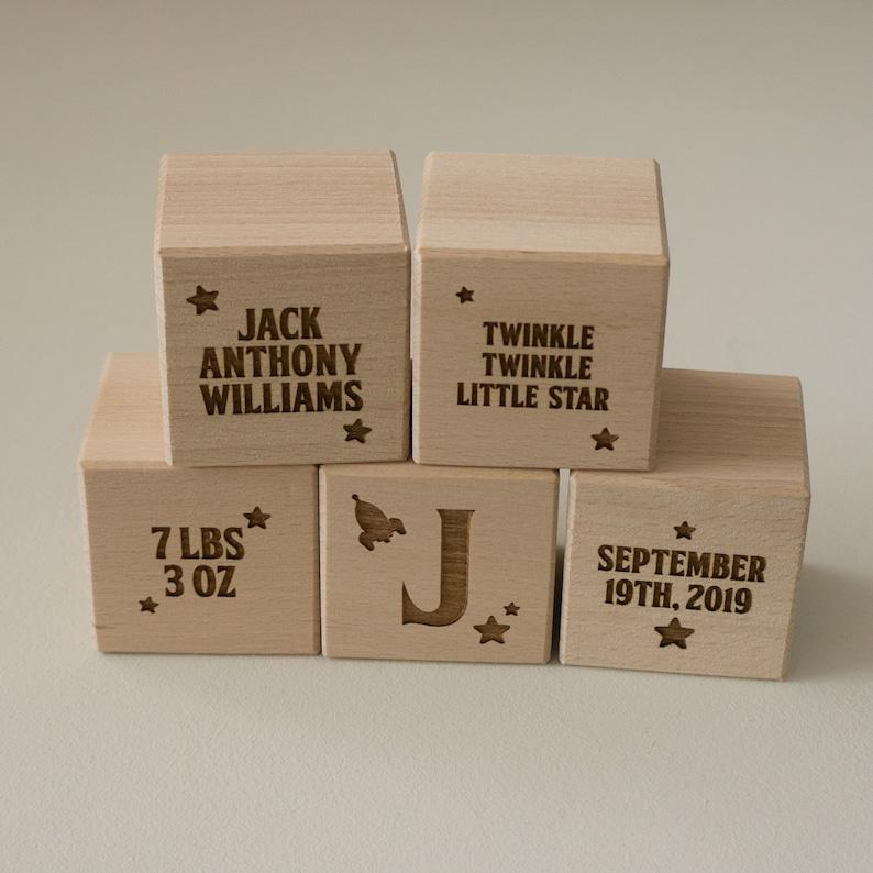 Baby wood blocks  Personalize wooden bricks  New born children building  blocks  Christening gift Baptisim present First birthday L91