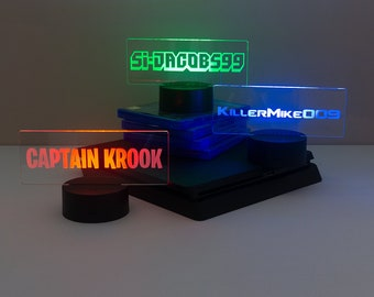 Personalised gamer tag sign. Gaming name light up LED lamp. Games room light. Unqiue gift for online video gamers  L175 Christmas present