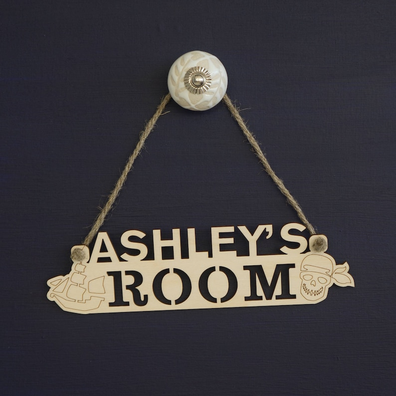 Personalised childs bedroom name plaque Rustic wooden room sign with pirates design ready to hang L65