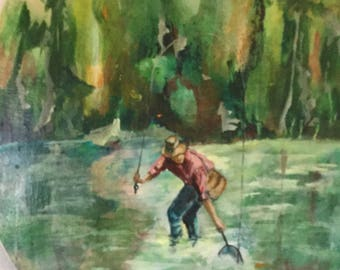 vintage painting of fly fisherman.